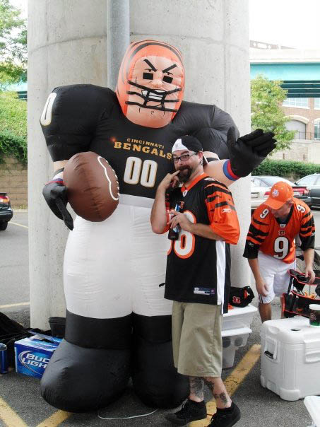 Inflatables, and Jason, running wild at the tailgate!