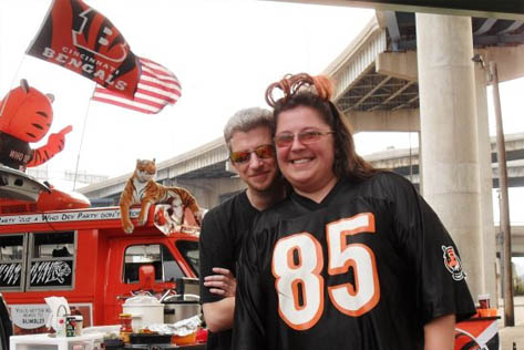 Mel and Stu getaway from work and are ready for good times as part of the Bengal Bomb Squad!